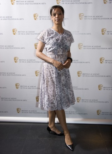 The Five Days and Silk actress arrives to present the award for Production Design tonight. (Pic: BAFTA/Chris Sharp)
