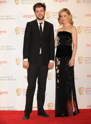 Presenters Jack Whitehall and Melissa George accepted Graham Norton's Entertainment Performance BAFTA in his absence.
