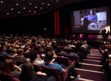 Christopher Hampton starts his screenwriter's lecture with the audience. (Photography: Jay Brooks)