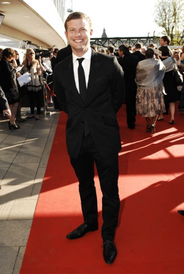 Dermot O'Leary on the red carpet outside the Royal Festival Hall hoping X factor can claim either the Philips Audience Award or the Entertainment Programme BAFTA (BAFTA / Richard Kendal).