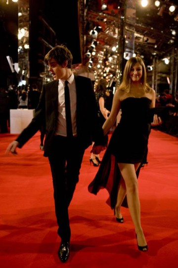 Orange Rising Star Award nominee Sam Riley walked the red carpet in style with Control co-star Alexandra Maria Lara (pic: Greg Willams / Art+Commerce).