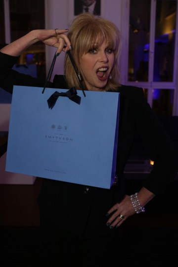 Joanna Lumley with her Smythson gift bag