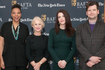 BAFTA New York CEO Julie La'Bassiere, Helen Mirren, moderator Cara Buckley, and BAFTA New York Chair Luke Parker Bowles.