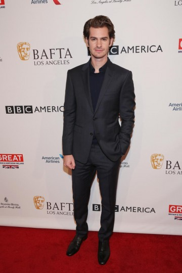 Actor Andrew Garfield, who stars in Hacksaw Ridge and Silence, on the red carpet for the 2017 BAFTA Tea
