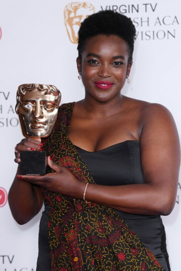 Wunmi Mosaku accepts the Supporting Actress award for her performance in Damilola, Our Loved Boy