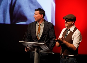 Seamus Walsh and Mark Caballero on stage at the Harryhausen tribute at the BFI (BAFTA/Brian J Ritchie).