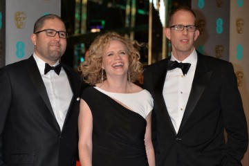 Hoping to win a BAFTA for Original Screenplay for Inside Out: Josh Cooley, Meg LeFauve and Pete Doctor