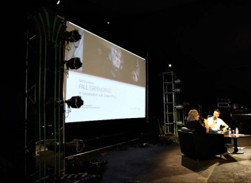 July 17: Simon Mayo on stage with Paul Greengrass (Picture: Jonathan Birch)