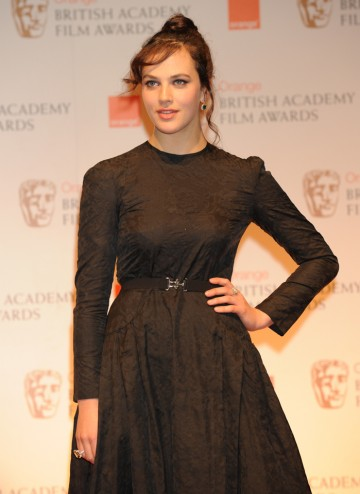 Downton Abbey actress Jessica Brown-Findlay, who presented the BAFTAs for Sound and Editing. Jessica is wearing a dress by Alessandra Rich with hair by Charles Worthington.