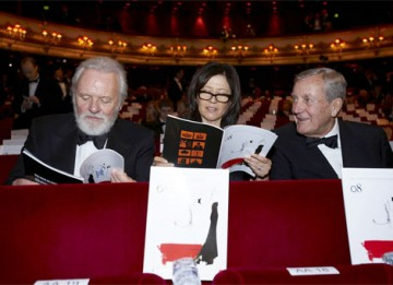 Anthony Hopkins and his wife Stella check the list of nominations in BAFTA's Film Awards brochure before the ceremony (pic: BAFTA / Camera Press).