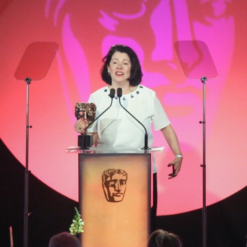 Pippa Harris accepts the award for Production Design at the British Academy Television Craft Awards in 2015
