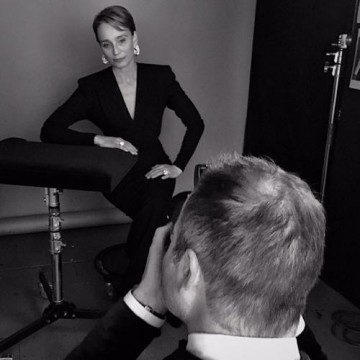 Dame Kristin Scott Thomas in the backstage portrait area at London's Royal Opera House.