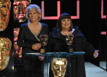 Comedy double-act Dawn French and Jennifer Saunders accept the Academy's highest honour, the Fellowship (BAFTA / Marc Hoberman).