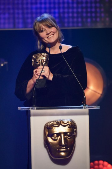 Margaret Matheson collects the BAFTA for Drama at the British Academy Children's Awards in 2015 for Katie Morag