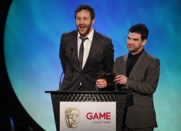 Sports Interactive managing director Miles Jacobson and Chris O'Dowd of hit comedy show 'The IT Crowd' introduce the category of Use of Online (BAFTA/Brian Ritchie)