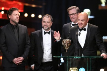 The Revenant sound team, Chris Duesterdiek, Frank A. Montano, Jon Taylor and Martin Hernandez, take to the microphone to accept their BAFTA award