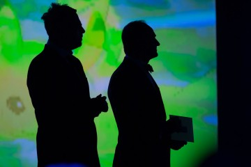 Danny Wallace and Navid Negahban wait in the wings to present an award