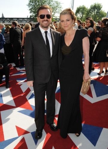 Gervais (wearing Ted Baker) is nominated as an exec producer for An Idiot Abroad in the Reality & Constructed Factual.