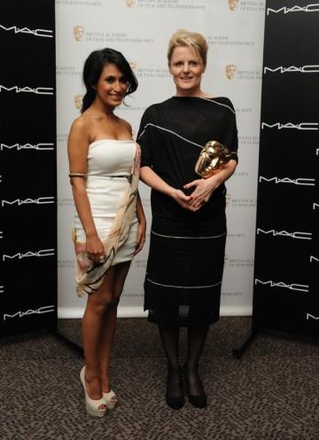 Presenter Preeya Kalidas with BAFTA winner Catherine Scoble. (Pic: BAFTA/Chris Sharp)