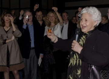 BAFTA Los Angeles Co-Founder Marion Rosenberg leads guests in a Birthday toast.