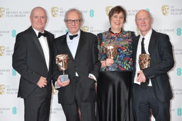 Winners of the Outstanding British Film Award, I, Daniel Blake. From L-R: Dave Johns, Ken Loach, Rebecca O'Brien, Paul Laverty