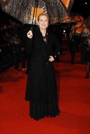 Meryl Streep, amongst the Best Actress nominees once again for Doubt, braves the February rain on the red carpet (BAFTA / Richard Kendal).