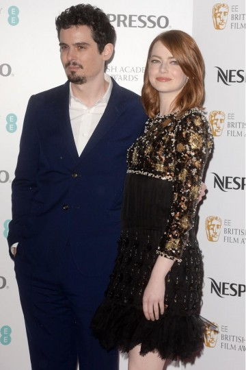 Damien Chazelle and Emma Stone arrive at the BAFTA Nespresso Nominees' Party at Kensington Palace