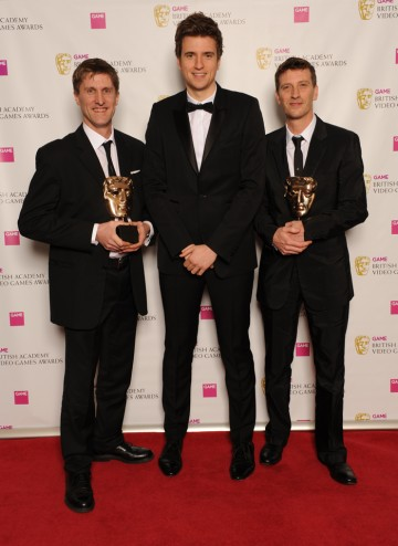 "Radio 1 DJ Greg James with LA Noire composers Andrew Hale and Simon Hale. The jury praised the game's ""refreshing choice of freeform jazz that captures the era perfectly."""