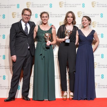 Winner of the British Short Film award - Operator. From L-R: Rebecca Morgan, Caroline Bartleet and team