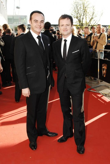 Ant and Dec, nominated in the Entertainment Performance category for I'm A Celebrity..., arrived on the red carpet wearing Tom Baker (BAFTA / Richard Kendal).