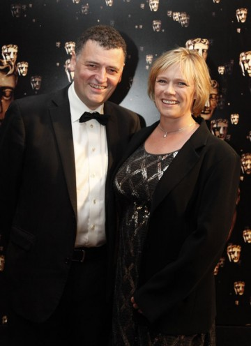 One of the writers (Moffat) and producers (Vertue) of Sherlock which is nominated for four BAFTAs tonight. (Pic: BAFTA/Chris Sharp)