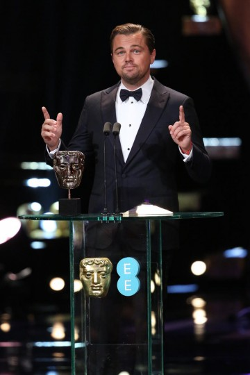 Leonardo Dicaprio accepts the award for Leading Actor at the 2016 EE British Academy Film Awards