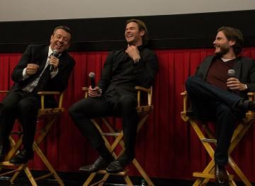 Writer Peter Morgan, Chris Hemsworth and Daniel Brühl