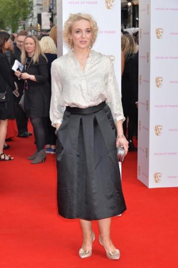 Amanda Abbington arrives at London's Theatre Royal. Hair by Mark Hill