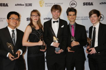 The BAFTA Ones to Watch Award was presented by Minecraft YouTuber Dan Middleton (right) to the team behind Chambara.