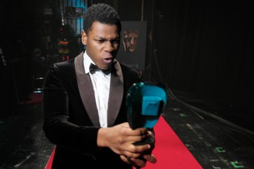 2016 EE Rising Star John Boyega celebrates his win backstage at London's Royal Opera House