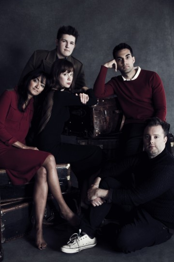 From left to right: Nisha Parti, Dan Pearce, Chloe Pirrie, James Floyd, Dominic Mitchell