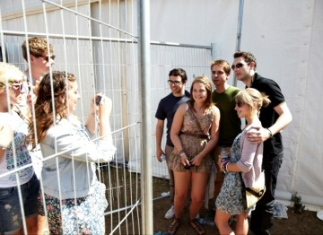July 18: The Inbetweeners boys pose for photos with fans (Picture: Jonathan Birch)