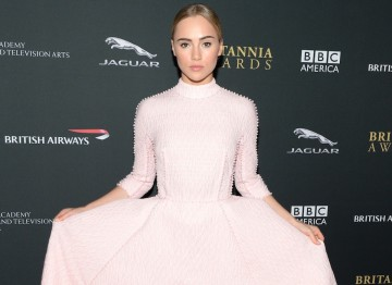 Model Suki Waterhouse in a stunning pink dress by Emilia Wickstead