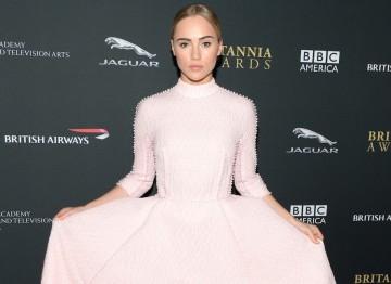 Model Suki Waterhouse in a stunning pink dress by Emilia Wickstead