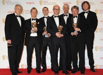 The winners of the BAFTA for Current Affairs alongside award presenter Jeremy Bowen.
