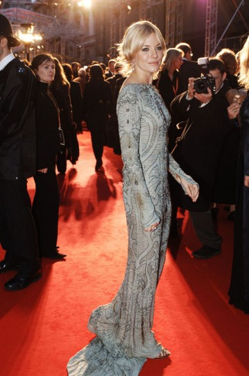 Sienna Miller - nominated for this year's Orange Rising Star Award - posed for photographers in 2007 in a backless silver vintage Ungaro dress. (pic: BAFTA/Richard Kendal)