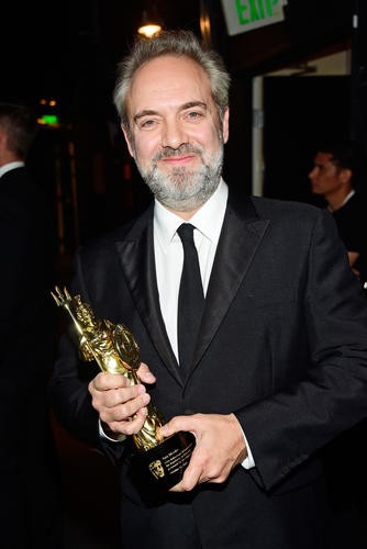 Sam Mendes poses with the John Schlesinger Britannia Award for Excellence in Directing presented by the GREAT Britain Campaign.