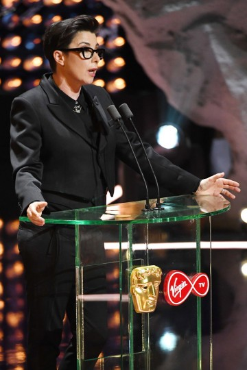 Sue Perkins greets the all-star audience