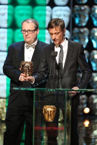Mackenzie Crook and Adam Tandy accept the award for Scripted Comedy