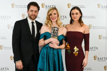 Shauna MacDonald with citation readers Richard Rankin & Sophie Skelton, Actress Film