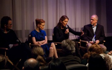 Jason Clarke, Jessica Chastain, Director Kathryn Bigelow and Moderator Steve Daly