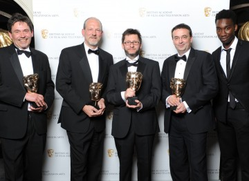 Sound: Fiction winners John Mooney, Jeremy Child, Howard Bargroff and Doug Sinclair show off their Awards for Sherlock (A Scandal in Belgravia) alongside Misfits star Nathan Stewart-Jarrett.