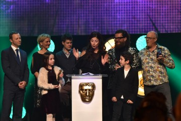 The production team behind Topsy and Tim accept their award for Pre-School Live Action