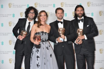 Winner of the Outstanding Debut by A British Writer, Producer or Director Award, Under The Shadow. From L-R:Babak Anvari (Writer/Director), Emily Leo, Oliver Roskill, Lucan Toh (Producers)